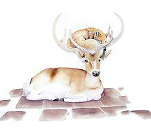 Fox and Deer by Cirse Sabino