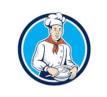 Chef Cook Holding Spoon Bowl Circle Cartoon by patrimonio