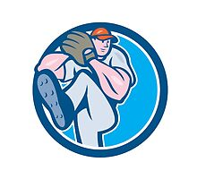 Baseball Pitcher Outfielder Leg Up Circle Cartoon by patrimonio