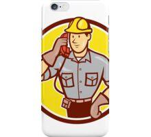Telephone Repairman Phone Circle Cartoon  iPhone Case/Skin