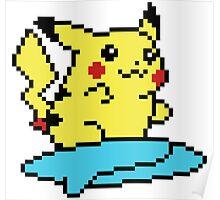 Pikachu surf - pixelart Poster