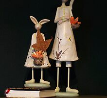 Rabbits on Books by Clare Colins
