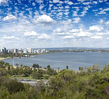 Perth City, Swan River and Narrows Bridge by palmerphoto