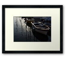 Charming Old Wooden Boats in the Harbor Framed Print
