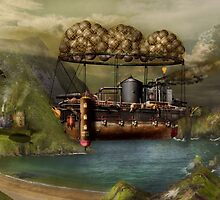 Steampunk - Airship - The original Noah's Ark by Mike  Savad