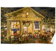 Quincy Market at Christmas Poster