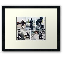 Photographs of bronze statues of Chinese Ceramic pottery workers.  Framed Print