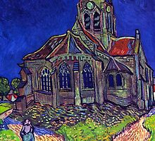 'Church of Auvers' by Vincent Van Gogh (Reproduction) by Roz Abellera Art