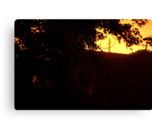 HDR Composite - Distant Telephone Pole at Night Canvas Print