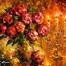 Roses And Candles — Buy Now Link - www.etsy.com/listing/215095427 by Leonid  Afremov