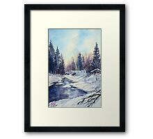 Winter river in the Laurentian Mountains. Quebec Framed Print