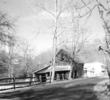 old barn B&w by melynda blosser