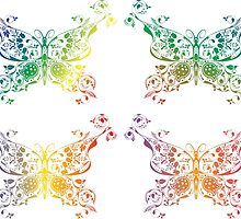Abstract multicolored butterflies by AnnArtshock