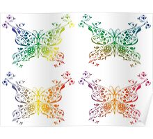 Abstract multicolored butterflies Poster