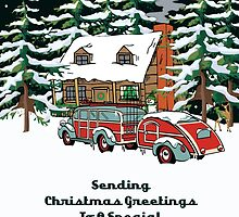 Sister And Her Fiancee Sending Christmas Greetings Card by Gear4Gearheads
