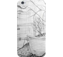 The Danube and A Boat a pencil drawing - all products iPhone Case/Skin
