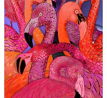 Flamingo Fantasy, Whimsical  Colorful Hand Drawn Pink Flamingos by margaretdill