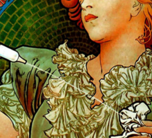 'Lance Parfum' by Alphonse Mucha (Reproduction) Sticker