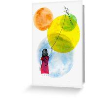 Girl Flying her Kite Greeting Card