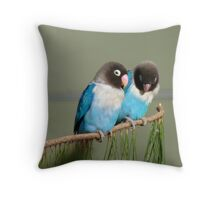 I Am Listening, Carry On....Blue Masked Lovebirds - NZ Throw Pillow