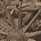 Old Wagon Wheel: Sepia by Paul  Huchton