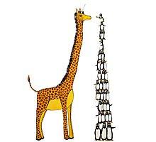 Who is Taller Unicorn Giraffe or Penguin? Photographic Print