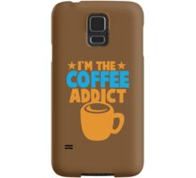 I'm the COFFEE ADDICT with coffee mug and stars Samsung Galaxy Case/Skin