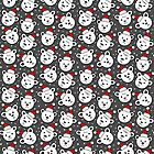 polar bears in Santa Claus hats seamless pattern on dark by demonique