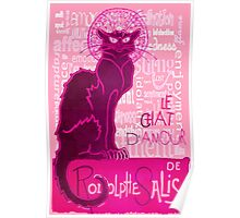 Le Chat D'Amour In Pink With Words of Love Poster