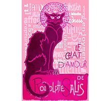 Le Chat D'Amour In Pink With Words of Love Photographic Print