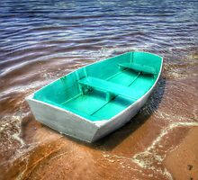 Colorful Rowboat in Plum Island, Mass Ocean Photography by Albany Retro