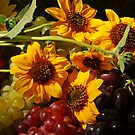 Sunlit Sunflowers and Grapes by Karin  Hildebrand Lau