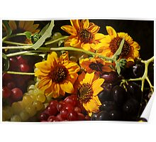Sunlit Sunflowers and Grapes Poster