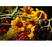 Sunlit Sunflowers and Grapes Photographic Print