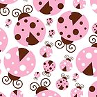 Ladybugs (Ladybirds, Lady Beetles) - Pink Brown by sitnica
