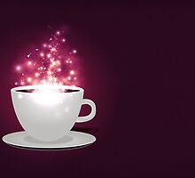Illustration of cup of coffee with sparks background by AnnArtshock