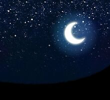 Illustration of night sky with stars and crescent moon by AnnArtshock