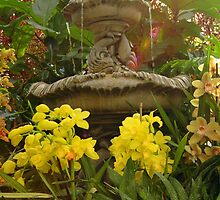Fountain And Flowers by Kathleen Struckle