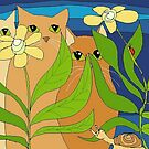 Three Cats, Two Flowers, One Snail and A Ladybug by Jean Gregory  Evans