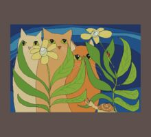Three Cats, Two Flowers, One Snail and A Ladybug Kids Clothes