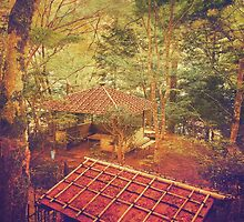 Wooden Gazebo and Small Shed in Forest by Beverly Claire Kaiya