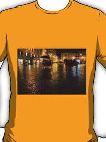 Golden Glow - Night on the Spanish Steps Piazza in Rome, Italy T-Shirt