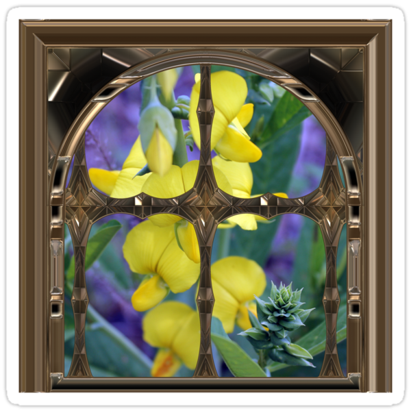 Yellow flower window by StickerNuts
