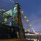 Wheeling Suspension Bridge at Night by Kenneth Keifer