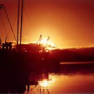 West Coast Fiery Sunset Silhouette Of The Fishing Fleet by Shawnna Taylor