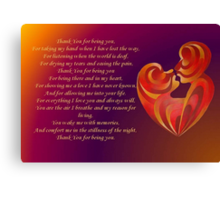 Thank You for Being You Poetry Greeting Card Canvas Print