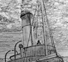 My pencil drawing of Steam Tugboat - all products bar duvet Sticker