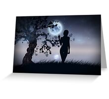 Silhouette under moon Greeting Card