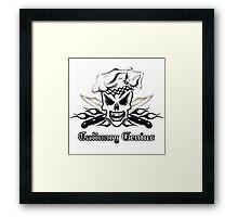 Chef Skull 2: Culinary Genius 3 black flame Framed Print