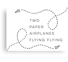 Two paper airplanes flying flying Canvas Print